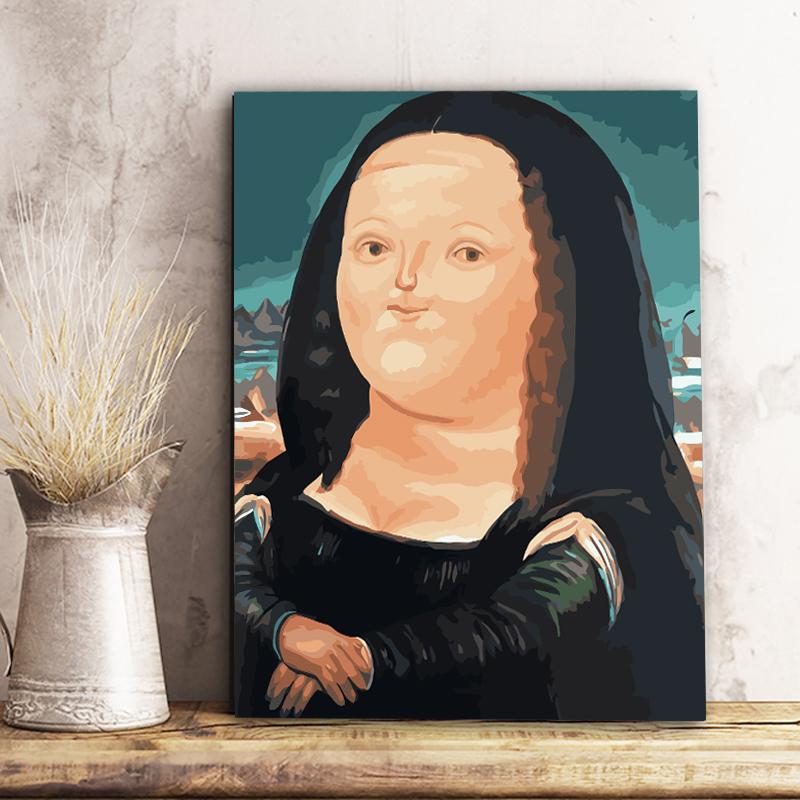 新品diy数字油画客厅风景大幅名画达芬奇蒙娜丽莎手绘图片
