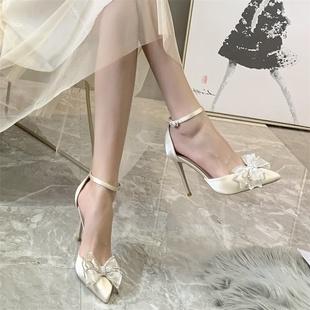 凉鞋高跟鞋女细跟2020夏新款婚鞋百搭中跟仙女水钻蝴蝶结包头水晶图片