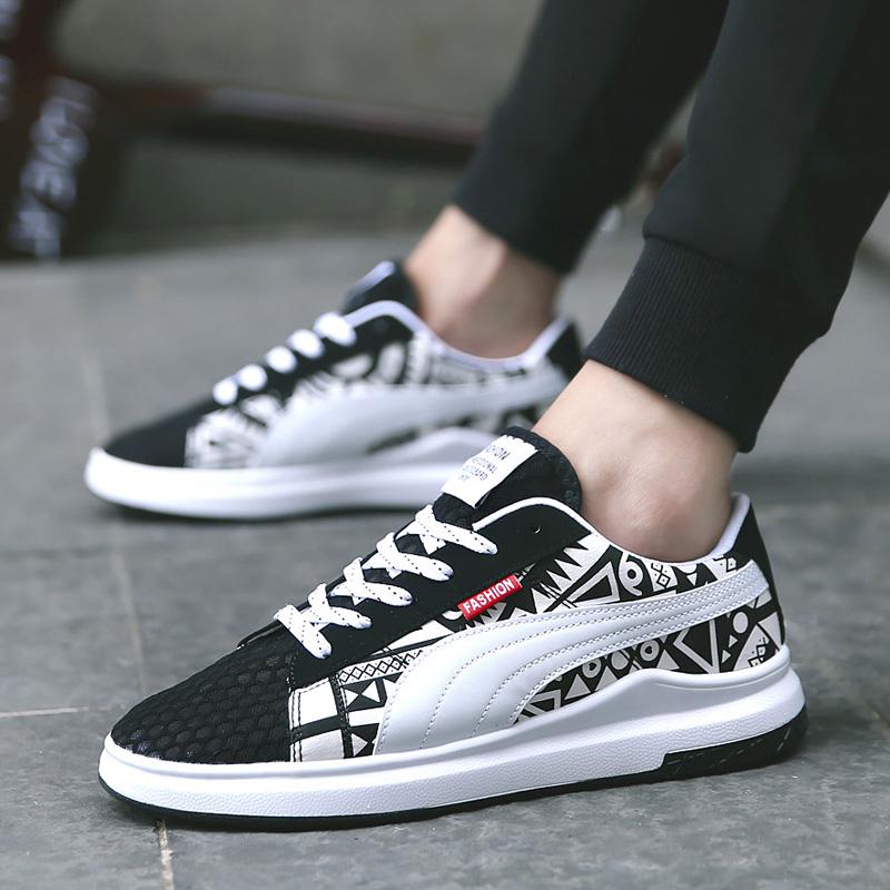 夏季透气韩版潮流鞋子百搭男士运动休闲鞋白色板鞋夏天网面网布鞋