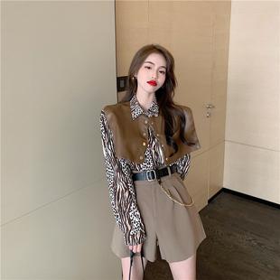 豹纹衬衫女披肩式长袖秋季宽松设计感外穿小众复古气质法式上衣潮图片