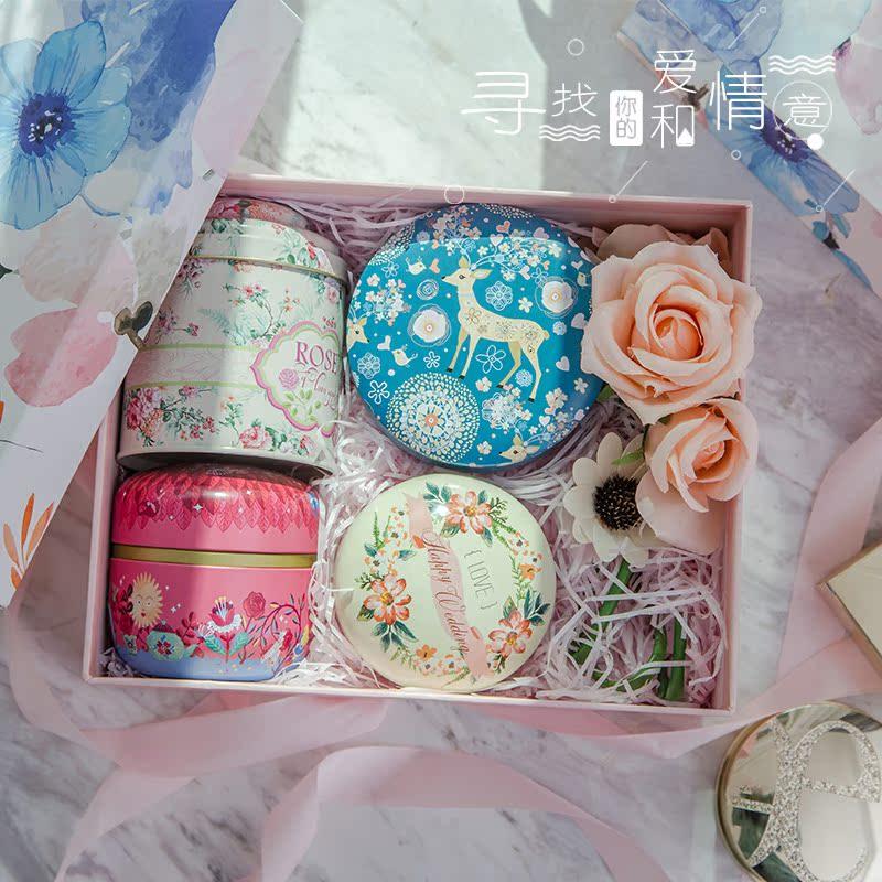 玫瑰黑糖块礼盒装桂圆红枣枸杞茶组合花茶伴手礼回礼情人节礼物