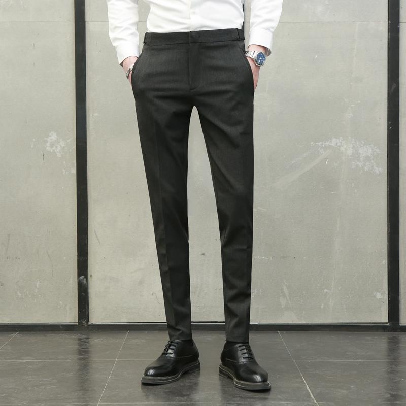 韩版西裤男黑色青年修身小脚商务休闲裤正装英伦男士坠感西装裤子
