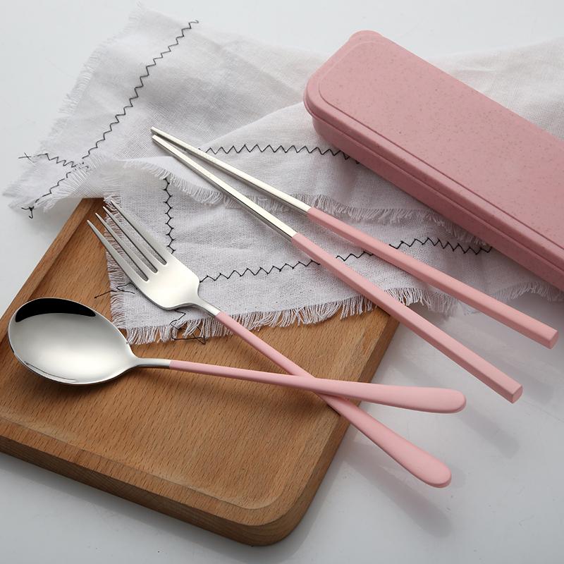 筷子勺子盒不锈钢餐具三件套装可爱学生便携韩版成人长柄叉子创意
