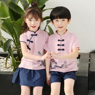 幼儿园园服复古中国风唐装旗袍裙学生校服六一表演服男童女宝套装