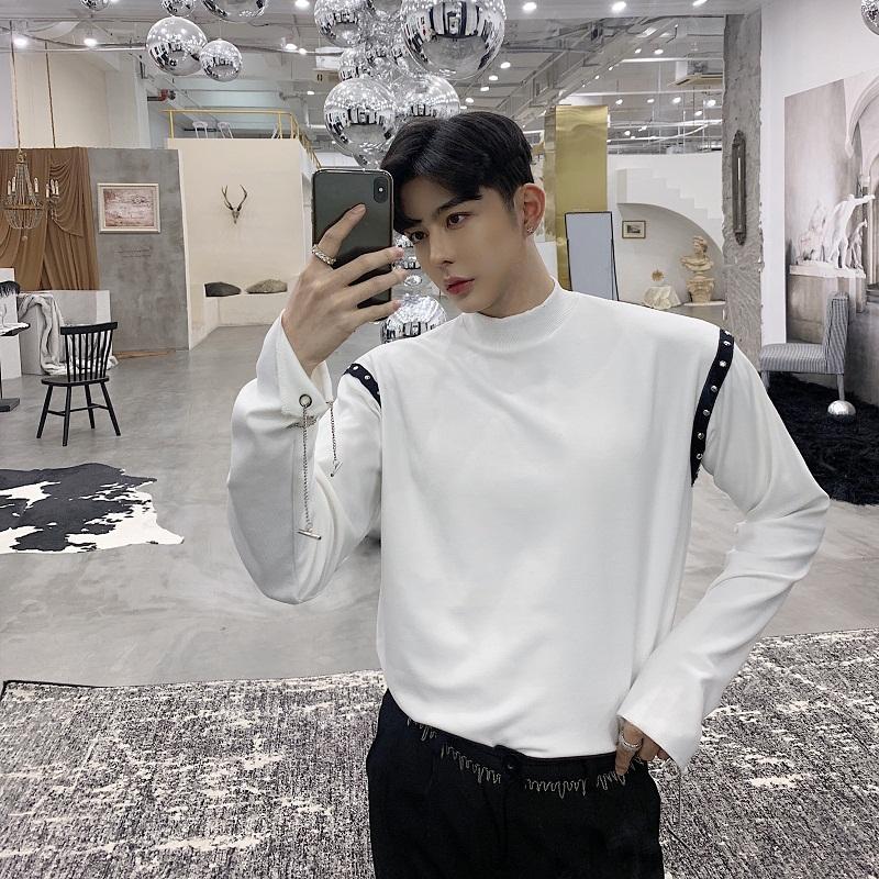 日系立领织带卫衣男士袖口链条设计宽松长袖T恤韩版潮流打底衫男