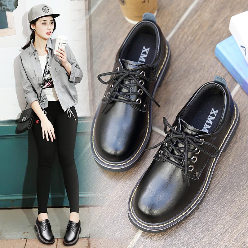秋冬季英伦小皮鞋马丁鞋大码41-43学院风加绒女鞋平底低帮马丁靴