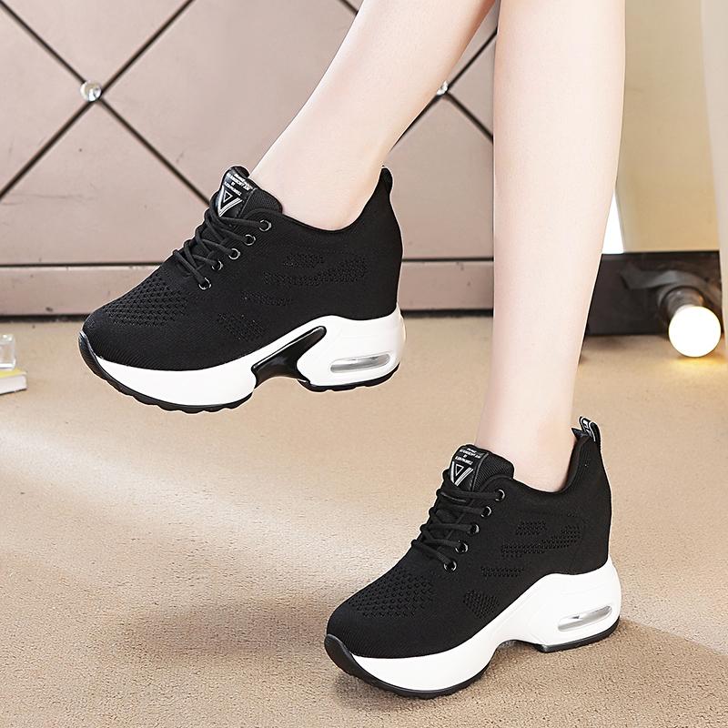 内增高秋季女鞋运动鞋女黑色2019新款休闲鞋网红单鞋旅游加绒冬季