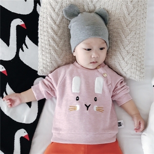 Wokang baby clothes autumn and winter newborn long-sleeved baby baby rabbit sweater women and children 0-1-year-old shir