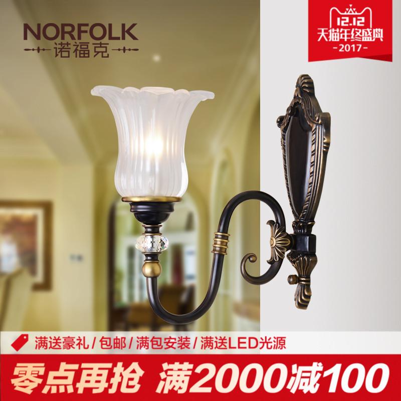 诺福克 美式乡村全铜壁灯 欧式全铜灯卧室 床头 壁灯复古客厅壁灯