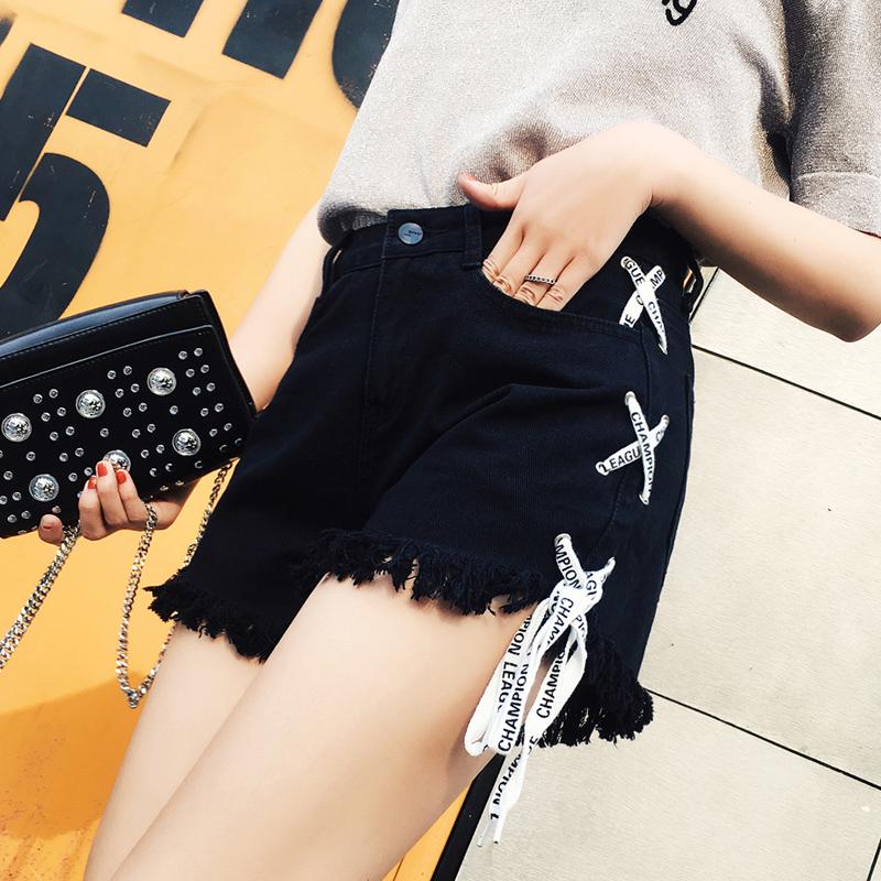 2019新款高腰毛边流苏黑色牛仔短裤女夏韩版学生绑带宽松百搭热裤