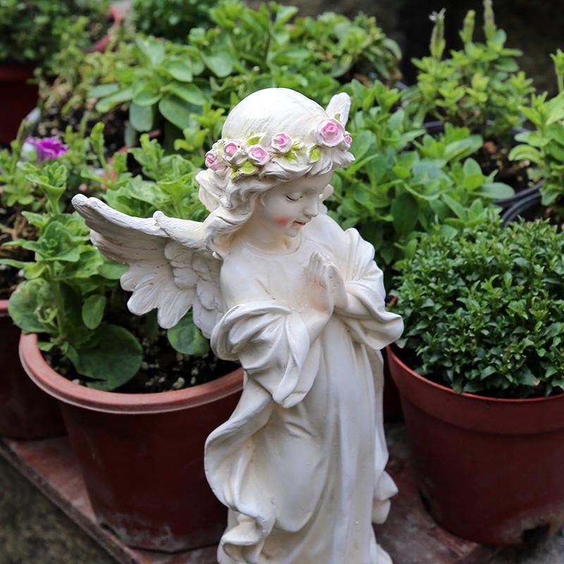 庭院装饰 户外花园 美式乡村 小院子装饰 园艺摆件树脂小天使摆件