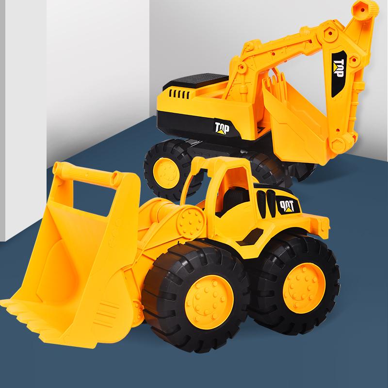 儿童大吊车挖掘机惯性挖机工程车挖土推土玩具套装小汽车男孩模型