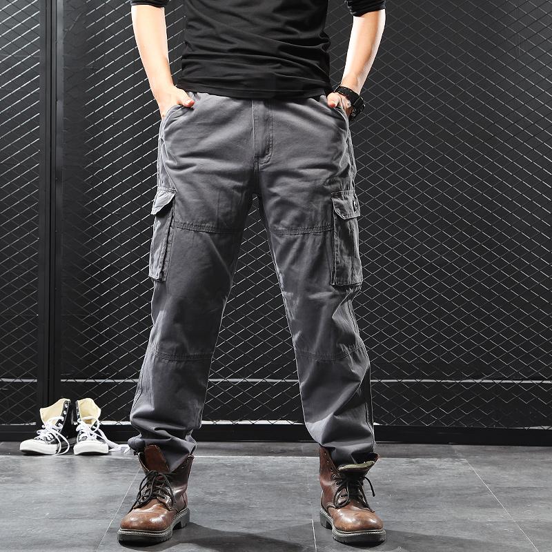 寬松運動休閑褲男士加肥加大碼鼕季長褲胖子加絨加厚多口袋工裝褲