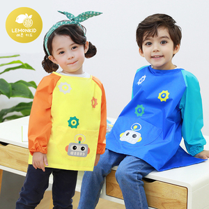 Five babies spring and summer painting clothes waterproof breathable anti-wear children waterproof boys and girls dinner gown bib