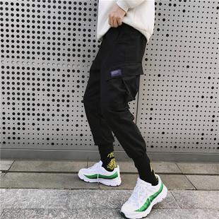 超火ins裤子日系工装裤男九分韩版潮流嘻哈运动休闲裤小脚束脚裤