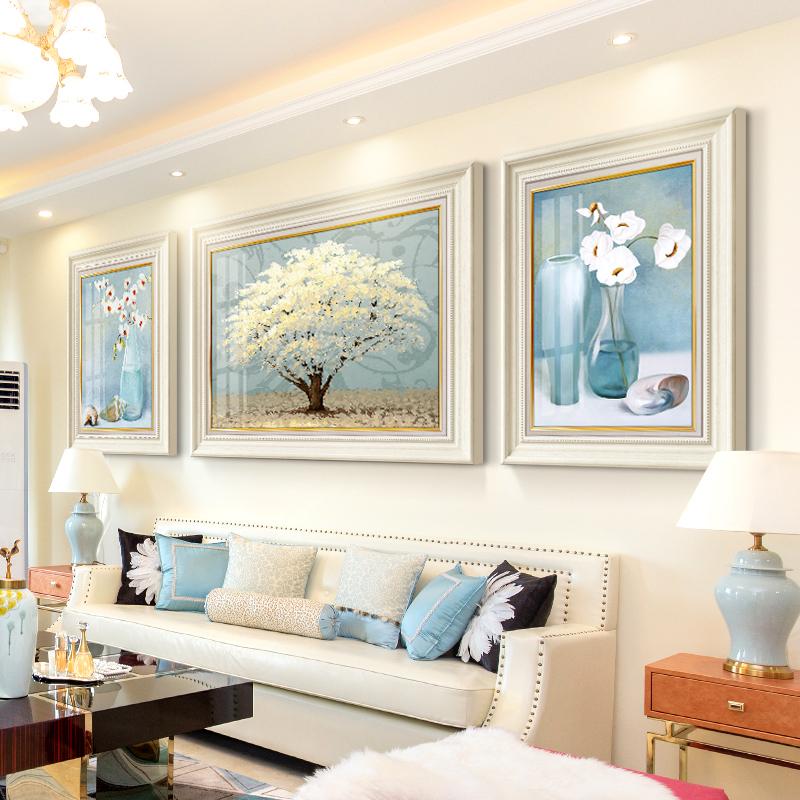 现代轻奢客厅装饰画美式沙发背景墙挂画欧式玄关大气简约三联壁画