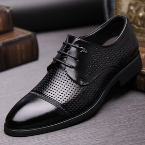 Summer leather shoes men's leather hollow breathable deodorant business shoes dress pointe lace-up summer sandals men's shoes