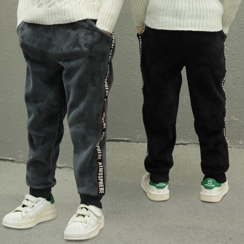 男童裤子冬装长裤2017新款韩版中大童装金丝绒儿童加绒加厚运动裤