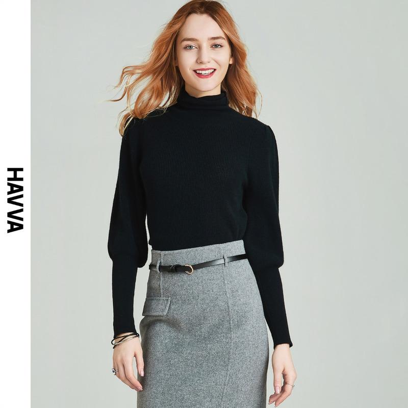 【粉丝专享价¥99】高领灯笼袖黑色修身内搭毛衣女洋气M4610