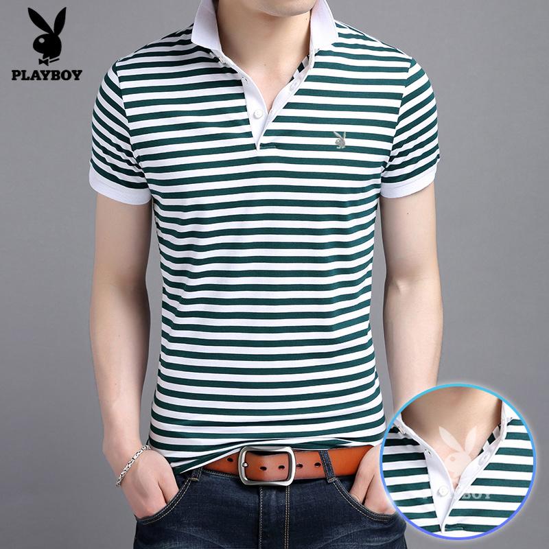 花花公子夏季男士短袖t恤 男装翻领条纹半袖 韩版修身上衣polo衫