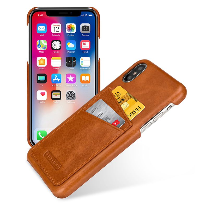 iPhone X / iPhone 10 Case TETDED Genuine Leather Business Card ...