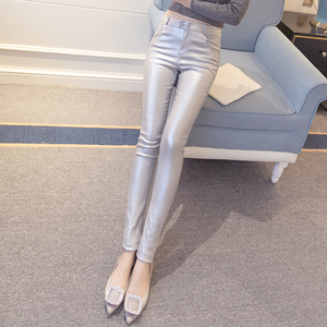 Spring and autumn winter new wild was thin waist high hip coating leather pants plus velvet outer leggings women feet pants