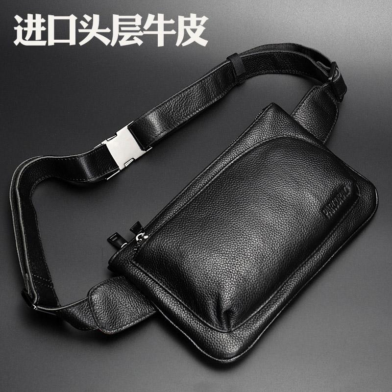 真皮男腰包手机包韩版潮头层牛皮胸包多功能户外运动单肩斜挎小包