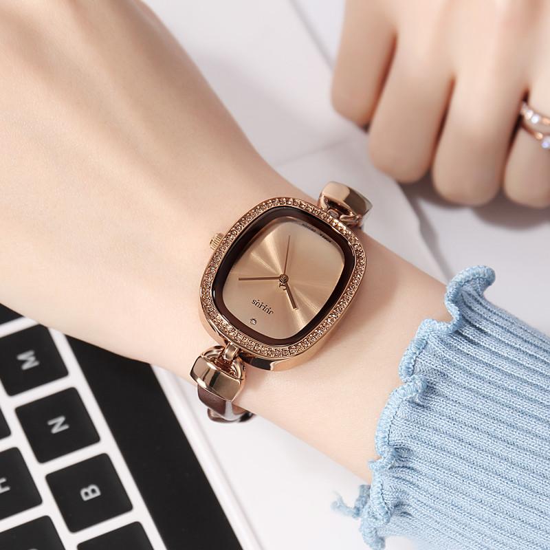 正品新款聚利时手表水钻方形皮带女表时尚细带女士表复古表时装表