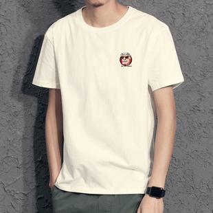 新款港风潮牌夏季短袖T恤青年男士纯棉宽松大码日系圆领半袖t桖