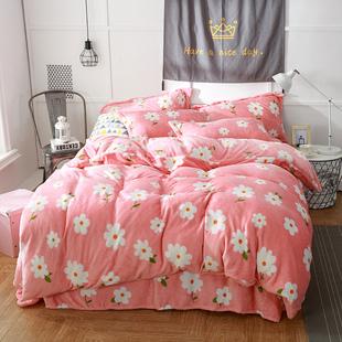 公主风法兰绒四件套双人1.8m床上用品珊瑚绒加厚床单三件套冬季8