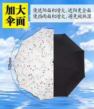 韩国创意三折女太阳伞防紫外线遮阳伞zh14强防晒mi黑胶包邮