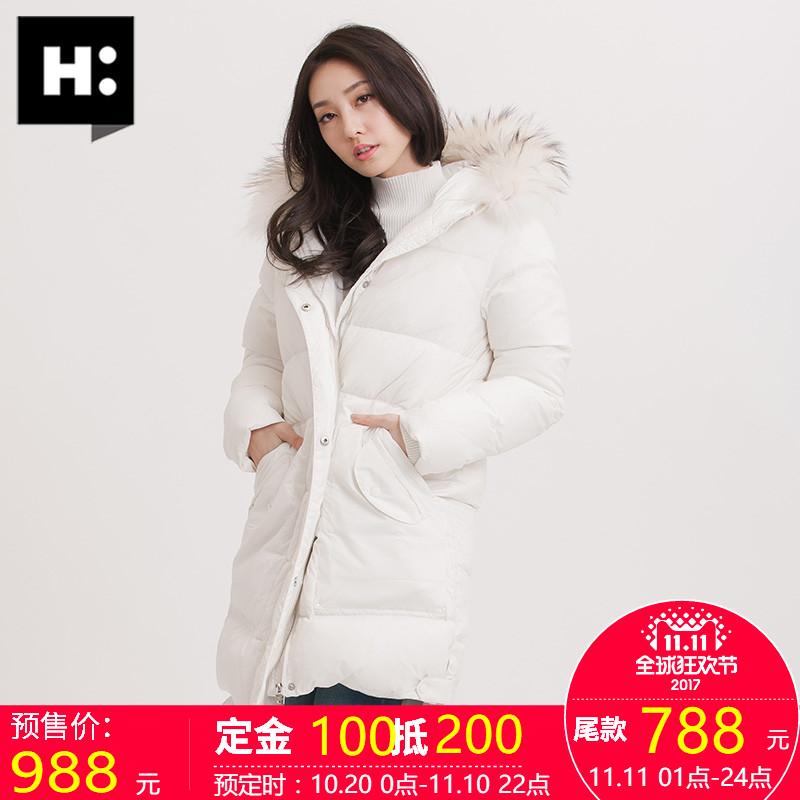 预售H:CONNECT2017冬季新款韩版女士连帽羽绒服大毛领短款外套