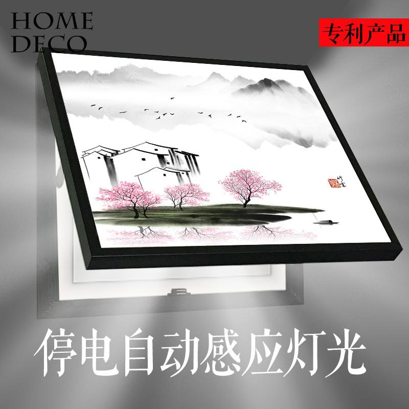 新中式禅意山水电表箱装饰画现代配电箱空气开关电闸翻盖遮挡水墨