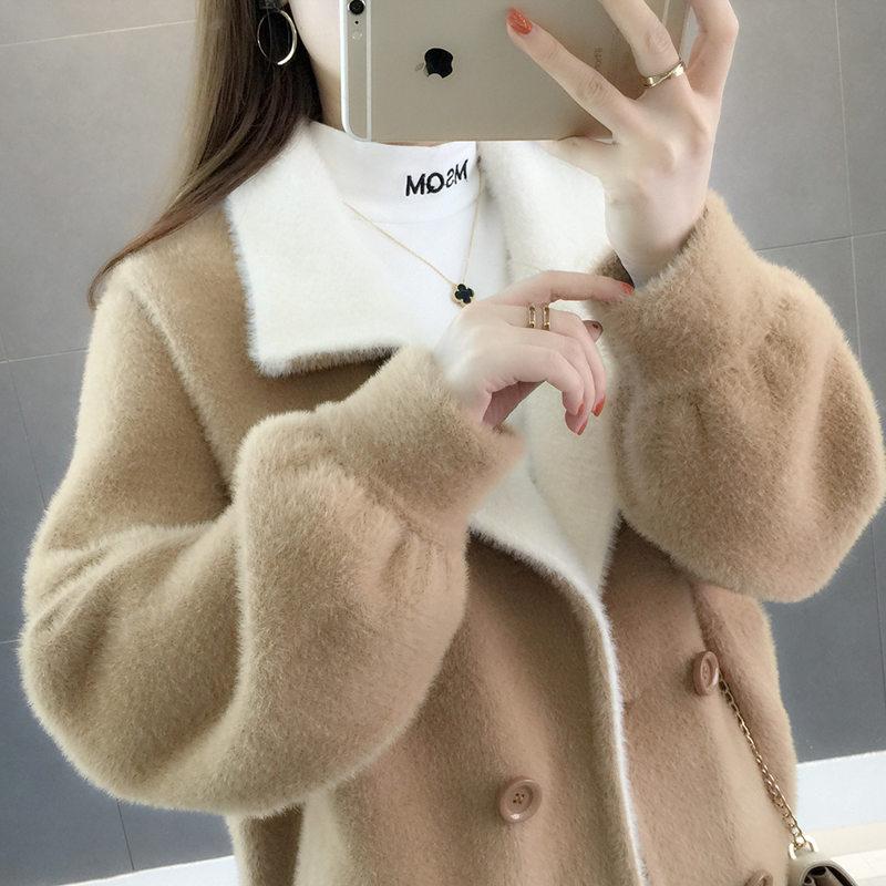 秋冬2018新款仿水貂绒外套女短款慵懒风ins超火的毛衣开衫女宽松