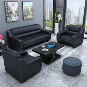 Office sofa simple modern three-person office furniture business meeting reception office sofa coffee table combination