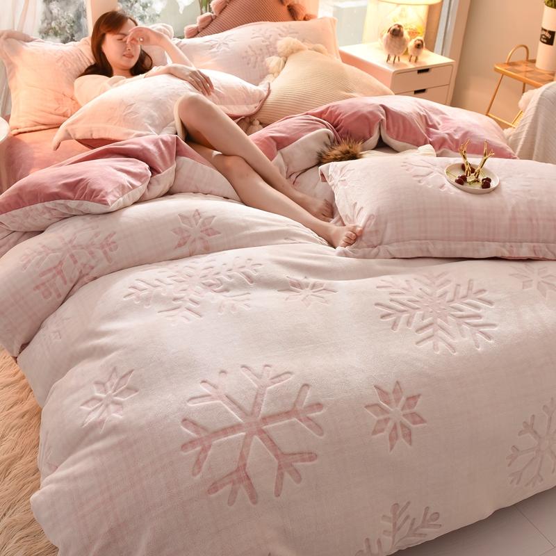 高端牛奶绒珊瑚绒四件套冬暖水晶法兰绒被套1.8m床双面法莱绒洋气