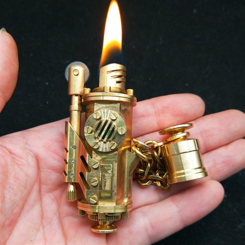 手工纯铜蒸汽朋克2代打火机夜光老式古董个性收藏煤油送礼打火机