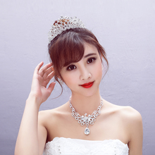 Bridal crown necklace earrings three piece wedding accessories