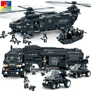 Compatible with Lego Warma block building children's SWAT plane car boy toy defenders combat command vehicle