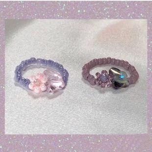 买二送一复古串珠水晶小众韩国蝴蝶戒指ins同款珍珠蝴蝶ylyl同款图片