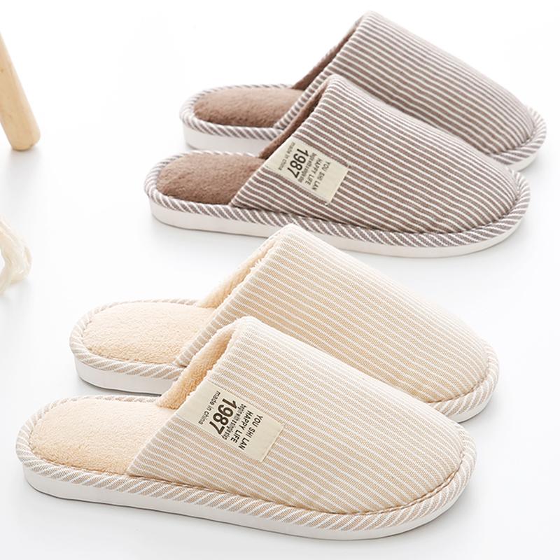 秋冬季情侣毛绒布棉拖鞋男女士家居家用可爱室内防滑厚底月子棉鞋