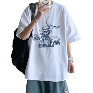 短袖男夏季潮流ins卡通涂鸦t恤