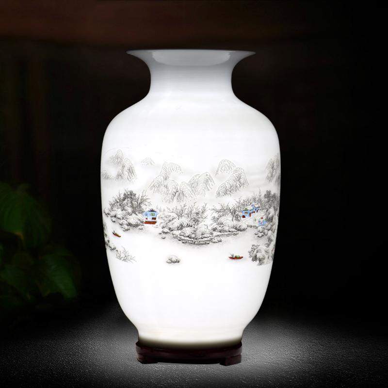 景德镇陶瓷器小花瓶摆件客厅插花干花富贵竹中式青花瓷装饰工艺品