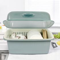日本进口加厚双层洗菜篮沥水篮塑料厨房洗菜盆大号创意水果盘果篮