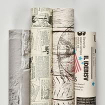 牆紙宿舍ins森繫懷舊報紙復古防水防潮學生寢室柜子自貼家用壁紙