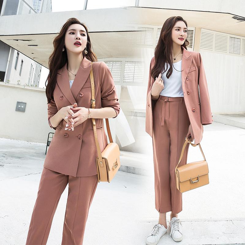 实拍现货 新款韩版网红风小西装气质女神西装长裤套装两件套-卡希格服饰-