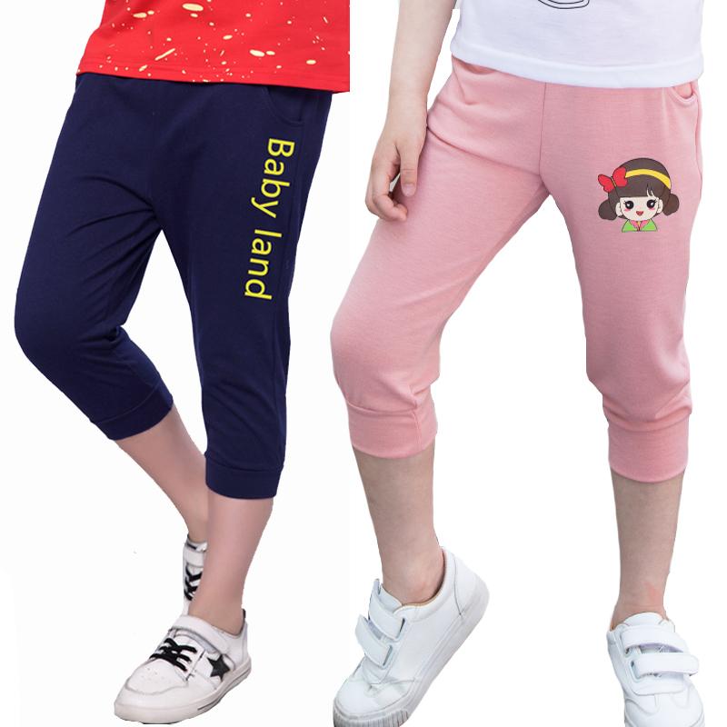 2018春夏装新款 中大童男童字母休闲七分运动裤3-12岁女童七分裤