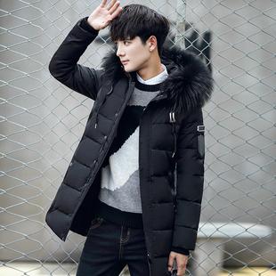 2018新款冬季男士羽绒服中长款韩版潮流加厚青年帅气男款外套A