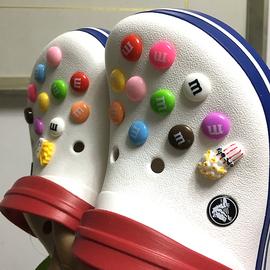 出口软扣型鞋花鞋扣装饰花 MM巧克力豆粉色婴儿 洞洞鞋书包装饰