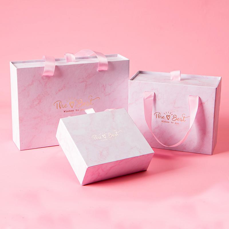 口红香水钱包礼品盒定制生日礼物盒少女心粉长方形包装礼盒空盒子